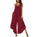 Women's Summer Sexy V-Neck Spaghetti Straps Sleeveless Plain Loose Wide Leg Jumpsuits