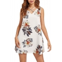 Fancy Floral Printed Crisscross V-Neck Sleeveless Womens Mini Tank Dress