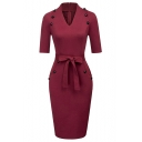 Women's Chic Button Embellished V-Neck Simple Plain Tied Waist Midi Pencil Dress