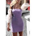 Girls Summer Unique Fashion Puff Sleeve Off the Shoulder Mini Purple Dress