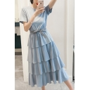 Girls Summer Solid Color Round Neck Short Sleeve Bow-Tied Waist Layered Ruffle Midi A-Line Dress