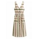 Women's New Trendy Beige Stripes Printed V-Neck Sleeveless Button Front A-line Dress