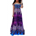 Hot Fashion Geometric Print Off The Shoulder Short Sleeve Maxi Floor Length Dress