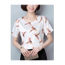 Summer New Arrival Birds Print Round Neck Short Sleeve T-Shirt for Women