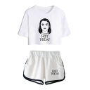 New Stylish Figure Letter NOT TODAY Cropped Short Sleeve Tee Casual Shorts Two-Piece Set