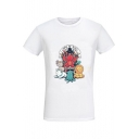 Women's Lovely Cartoon Letter GAME OF TOYS Printed Short Sleeve Round Neck White Graphic Tee