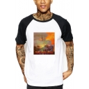 Notre-Dame Printed Fashion Colorblock Short Sleeve Round Neck White T-Shirt