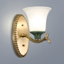American Rustic Bell Wall Lamp Frosted Glass 1/2 Lights White Sconce Light for Bedroom