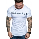 Men's Summer Simple Letter Round Neck Short Sleeve Slim Fit Relaxed T-Shirt