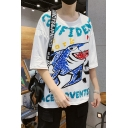 Men's Funny Shark Cartoon Letter Print Basic Half Sleeve Round Neck Casual Loose White T-Shirt