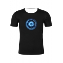 Summer New Trendy Funny 3D Printed Round Neck Short Sleeve Black Tee