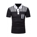 Summer Mens New Trendy Stripe Patched Short Sleeve Three-Button Front Slim Fit Polo Shirt