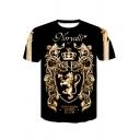 Hot Popular 3D Crown Leopard Dragon Totem Printed NORYALLI Letter Basic Round Neck Short Sleeve Black T-Shirt For Men