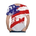 New Trendy 3D Flag Stars Printed Color Block Round Neck Short Sleeve Summer Red T-Shirt