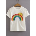 Cartoon Sun Vintage Letter Rainbow Embroidery Round Neck White Cropped Tee