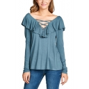 Womens Basic Solid Color Crisscross V-Neck Ruffled Hem Long Sleeve T-Shirt