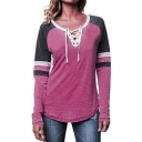 Womens Chic Lace-Up V-Neck Striped Long Sleeve Colorblock Loose Fit T-Shirt