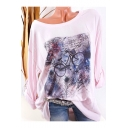 Women's New Trendy Round Neck Long Sleeve Tie-Dye Bicycle Print Loose Fit T-Shirt