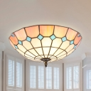 Traditional Bowl Ceiling Fixture 2/3/4 Lights Stained Glass Flush Light for Dining Room