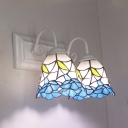 2 Lights Bell Wall Lamp Tiffany Style Stained Glass Wall Sconce for Bathroom Hotel