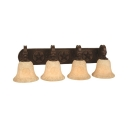 Antique Style Wall Light Bell Shade 4 Lights Frosted Glass Sconce Wall Light for Living Room