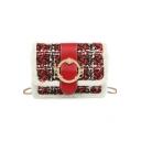 Chic Plush Metal Ring Embellishment Square Crossbody Bag for Women 18*6.5*13 CM