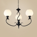 Antique Style Bud Shade Chandelier 3/5 Lights Frosted Glass Pendant Light in Black for Hallway