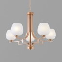 Frosted Glass Globe Chandelier Dining Room Hotel 5/6/8 Lights Elegant Style Hanging Light