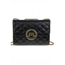 Fashion Classic Plain Rhombus Quilted Metal Ring Buckle Crossbody Sling Bag 19*7*14 CM