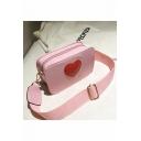 Popular Red Heart Letter Pattern Wide Strap Crossbody Shoulder Bag 18*7*11 CM
