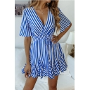Women's Elegant Striped Pattern V-Neck Short Sleeve Bow-Tied Waist Mini A-Line Dress