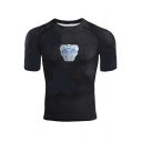 Cool Iron Reactor Printed Summer Short Sleeve Black Fitness T-Shirt