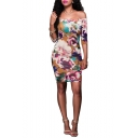 Women Hot Sale Sexy Floral Print Off The Shoulder Half Sleeve Mini Bodycon Purple Dress