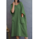 Women's Hot Sale Half Sleeve V-Neck Plain Printed Midi Loose Casual Linen Dress With Pockets