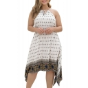 Women's Summer Vintage Printed Tie Halter Sleeveless Midi Plus Size Dress