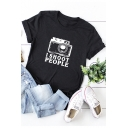 Letter I SHOOT PEOPLE Camera Print Short Sleeve Round Neck Loose Relaxed Tee