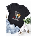 Cartoon Girl YOU'RE MY PERSON Short Sleeve Round Neck Cotton Loose T-Shirt
