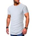 Summer Men's Simple Plain Round Neck Short Sleeve Slim Fit T-Shirt