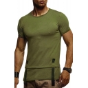 Men's Simple Plain Ribbon Patched Round Neck Short Sleeve Fitted Tee