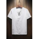 New Style Plain Short Sleeve Round Neck Button Front Linen T-Shirt for Men