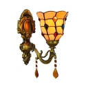1 Light Bell Wall Sconce Tiffany Style Antique Glass Sconce Light with Jewelry Crystal for Hotel