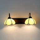 Tiffany Style Sconce Light with Dome Shade 2 Lights Glass Wall Light for Bedroom Restaurant