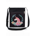 Hot Fashion Unicorn Floral Printed Black Canvas Shoulder Messenger Bag 22.5*27 CM