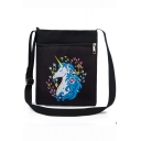 Fashion Unicorn Floral Printed Black Canvas Shoulder Messenger Bag 22.5*27 CM