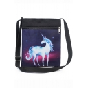 Hot Fashion Galaxy Unicorn Painted Navy Canvas Shoulder Messenger Bag 22.5*27 CM