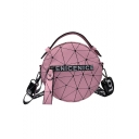 Hot Fashion Geometric Letter Printed Zipper Embellishment Portable Round Crossbody Bag 17*9*17 CM