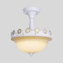Traditional Dome Semi Flush Mount Light Glass 3 Lights Blue/Pink/White Ceiling Lamp for Foyer