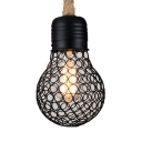 Metal Iron Wire Shape Hanging Light Single Light Industrial Pendant Light in Black