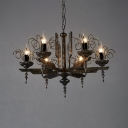 6 Lights Candle Shape Chandelier Vintage Metal Chandelier Lighting for Living Room
