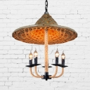 Rustic Bamboo Hat Pendant Light Hand Knitted 5-Light Chandelier for Foyer, 19.5